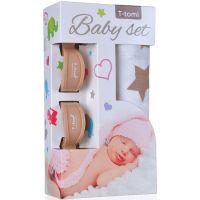 T-tomi Baby set béžové hvězdičky a kočárkový kolíček béžový
