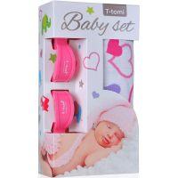 T-tomi Baby set srdíčka a kočárkový kolíček růžový