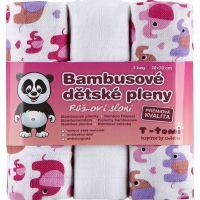 T-tomi Bambusové BIO pleny sada 3 ks růžoví sloni