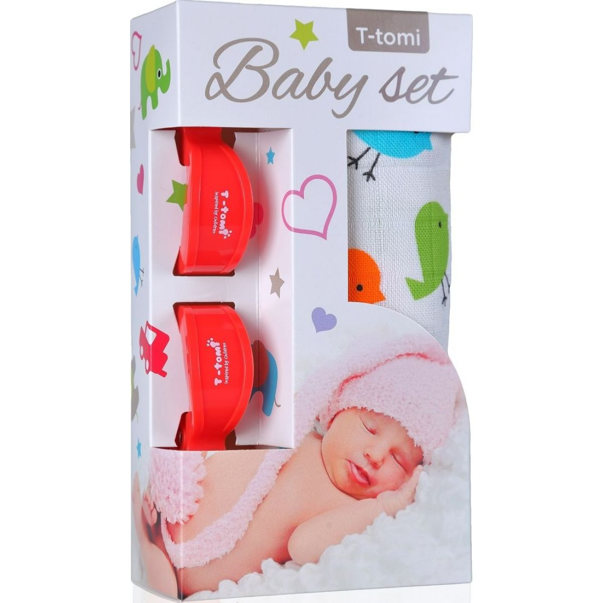 Baby set Bambusová BIO osuška vtáčiky a kočíkový kolíček červený