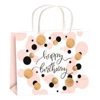 Taška narozeninová zlatá ražba M horizont 23x18x10cm Happy Birthday kolečka