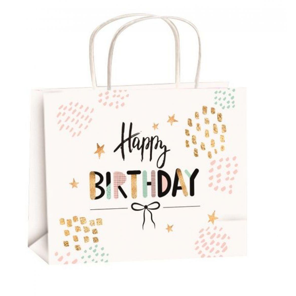 Taška narodeninová zlatá razba M horizont 23x18x10cm Happy Birthday