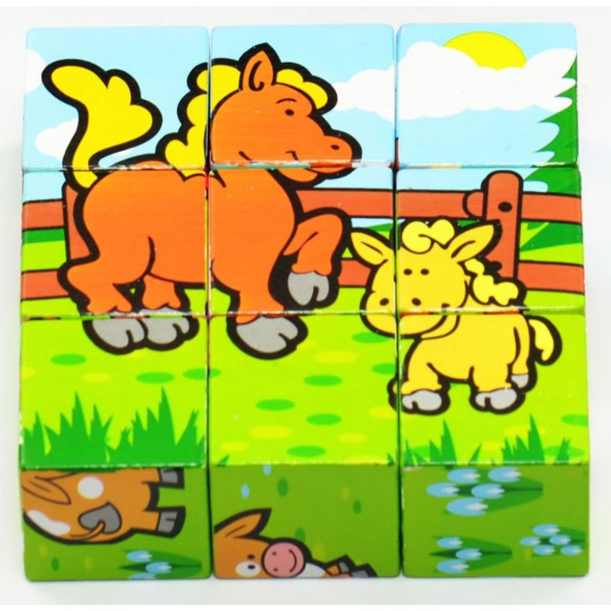 Teddies Drevené kocky - Moje prvé zvieratká 9ks