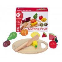 Teddies Drevené ovocie krájacie s doštičkou 17 ks