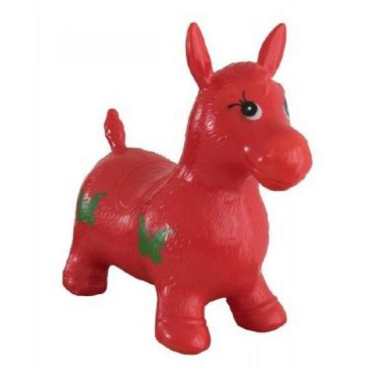 Teddies hopsadlo zvířátko nafukovací gumové skládací červený