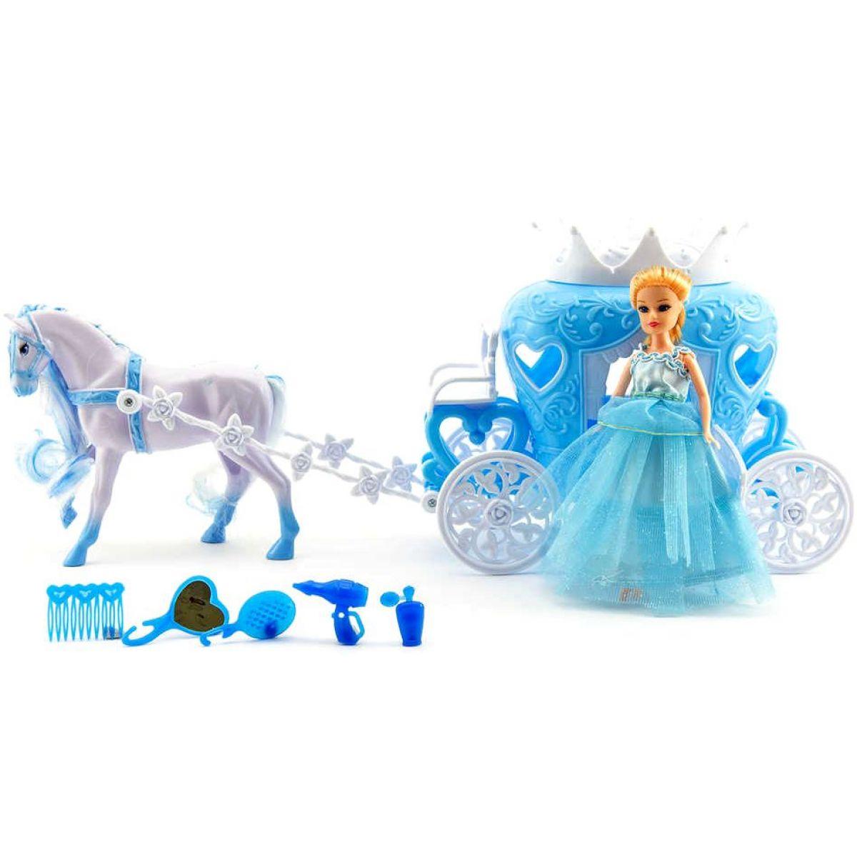 Teddies T00541901 Kůň s kočárem + doplňky plast 40cm