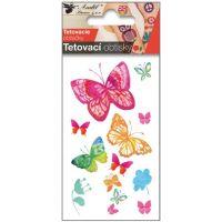 Tetovací obtisky 10,5x6 cm- motýli vodokresba