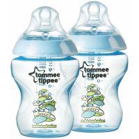 Tommee Tippee Dojčenská fľaša s obrázkami C2N 2ks 260ml 0 + m-modrá