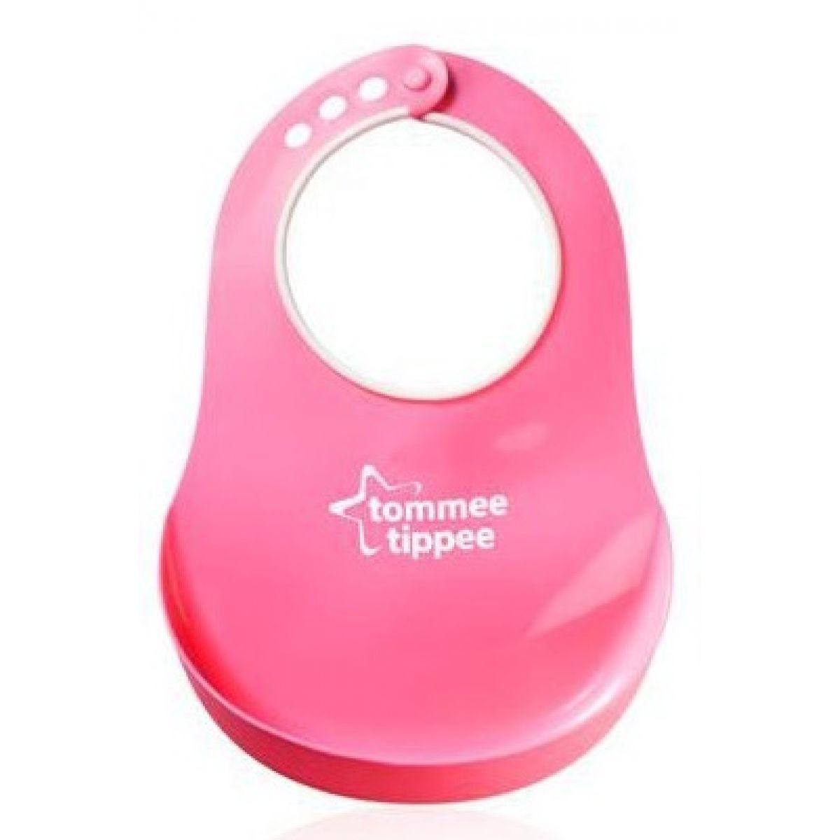 Tommee Tippee plastový podbradník Basic - růžová