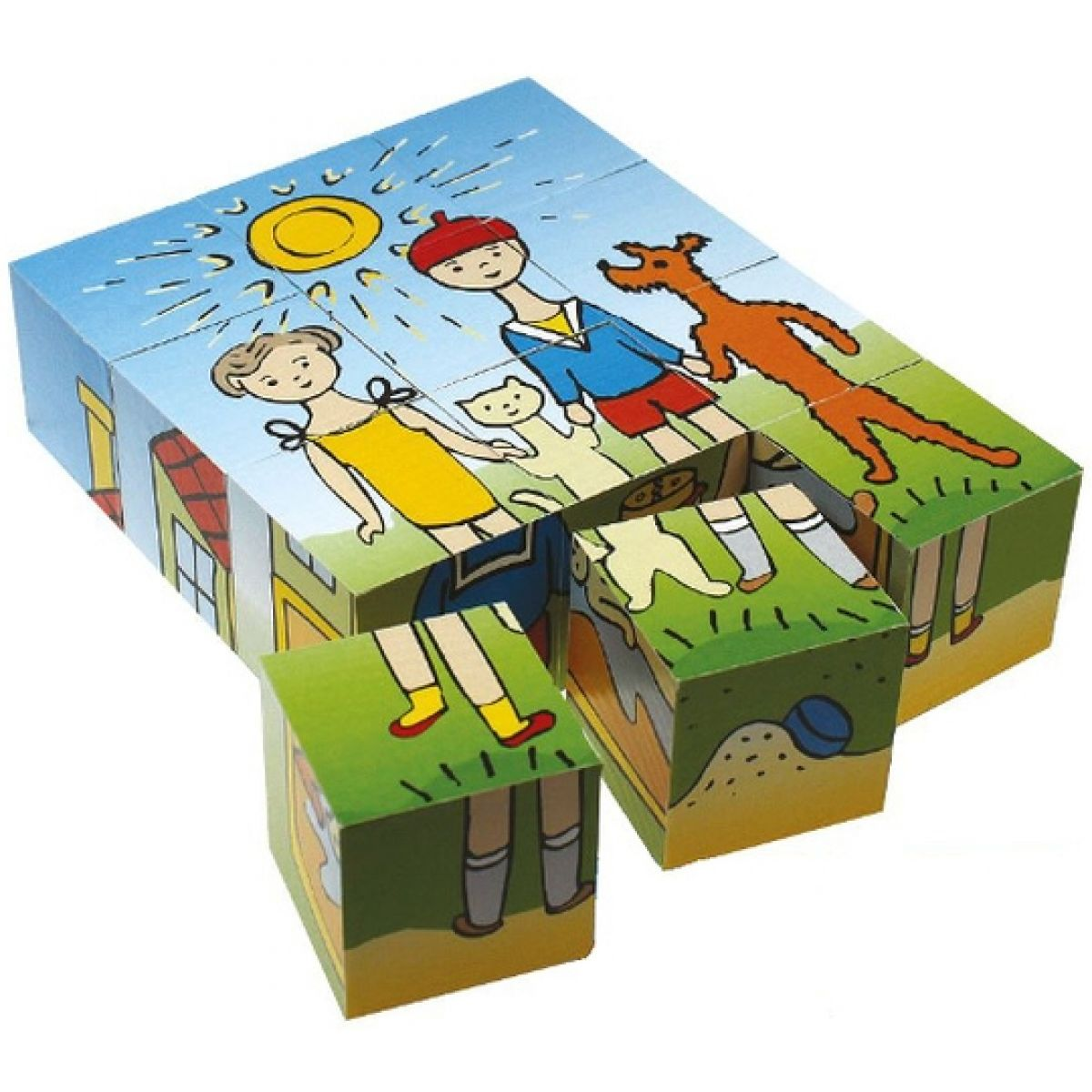 Topa drevené obrázkové kostky Pejsek a kočička
