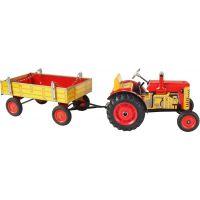 Kovap Traktor s prívesom plastové disky Červený