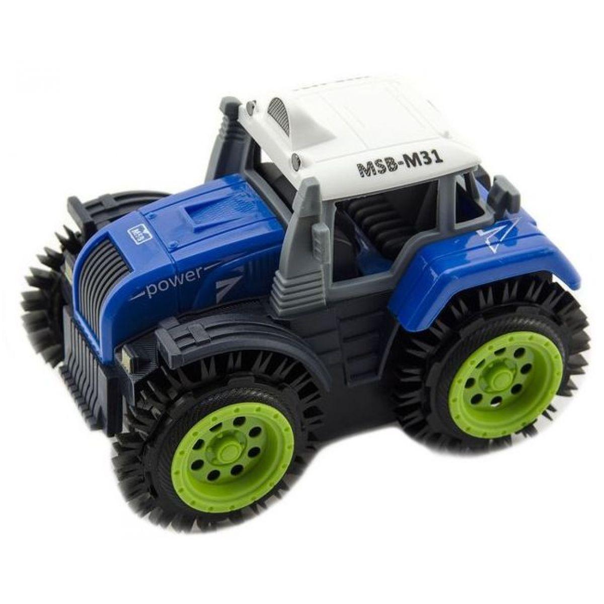 Traktor Prevracací plast 10 cm modrý
