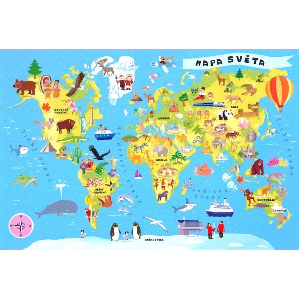 Trefl Vzdelávacie puzzle mapa sveta 100 dielikov