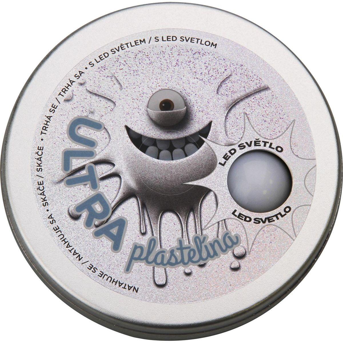 Ultra Plastelína 80g s led svetlom šedá