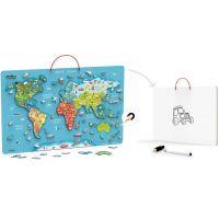 Viga Drevená mapa sveta s tabuľou