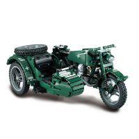 Vojenská motorka se sajdkárou na dálkové ovládání