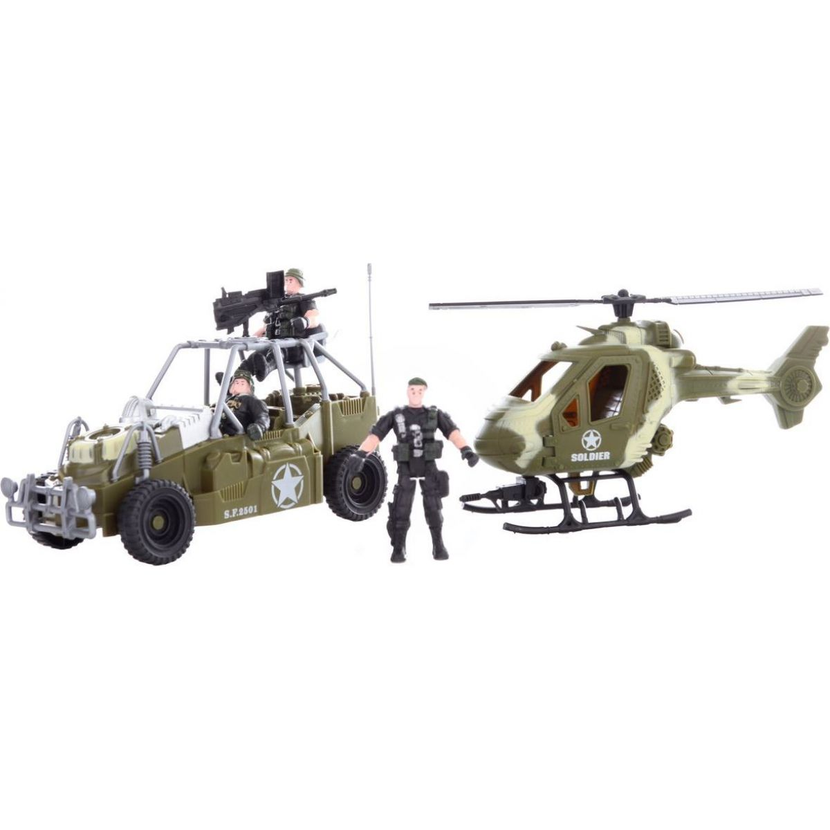 Vojenská sada s autom, vrtuľníkom a tromi vojakmi