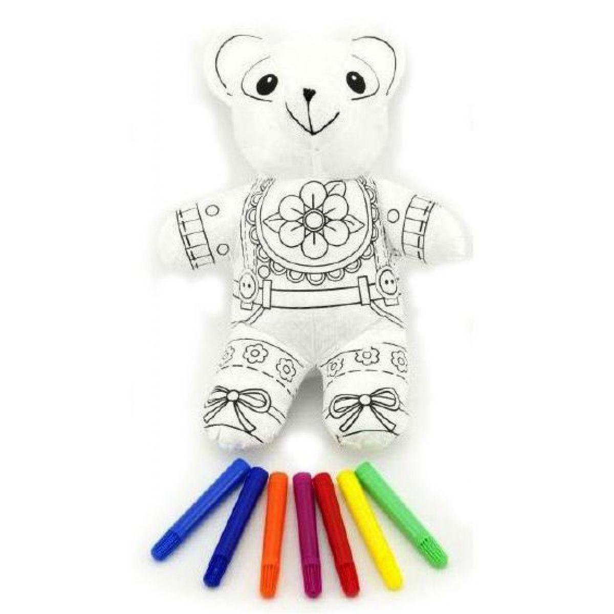Teddies Vymaľuj si svojho medvedíka 30cm + fixy 7ks