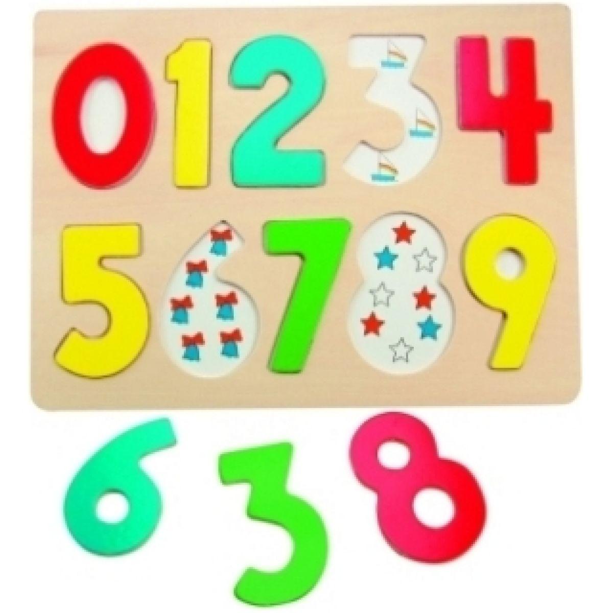 Woody Puzzle na doske Číslice s pismenkami