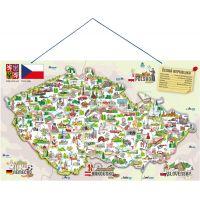 Woody Magnetická mapa ČR s obrázkami a spoločenská hra 3 v 1