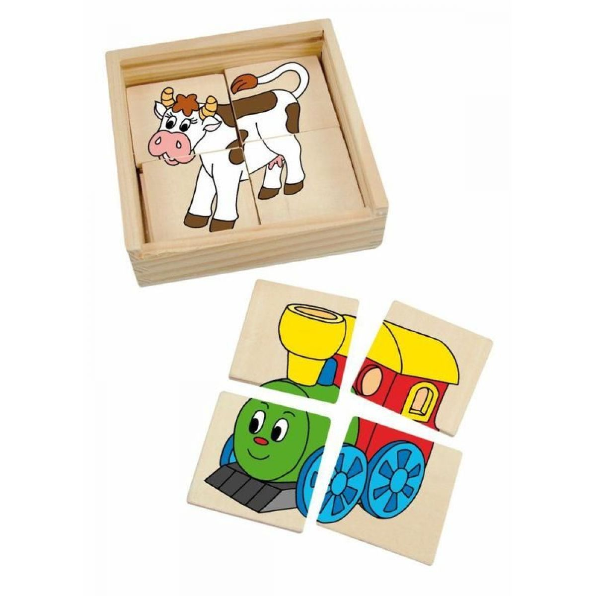 Woody minipuzzle Mašinka v drevenej krabičke