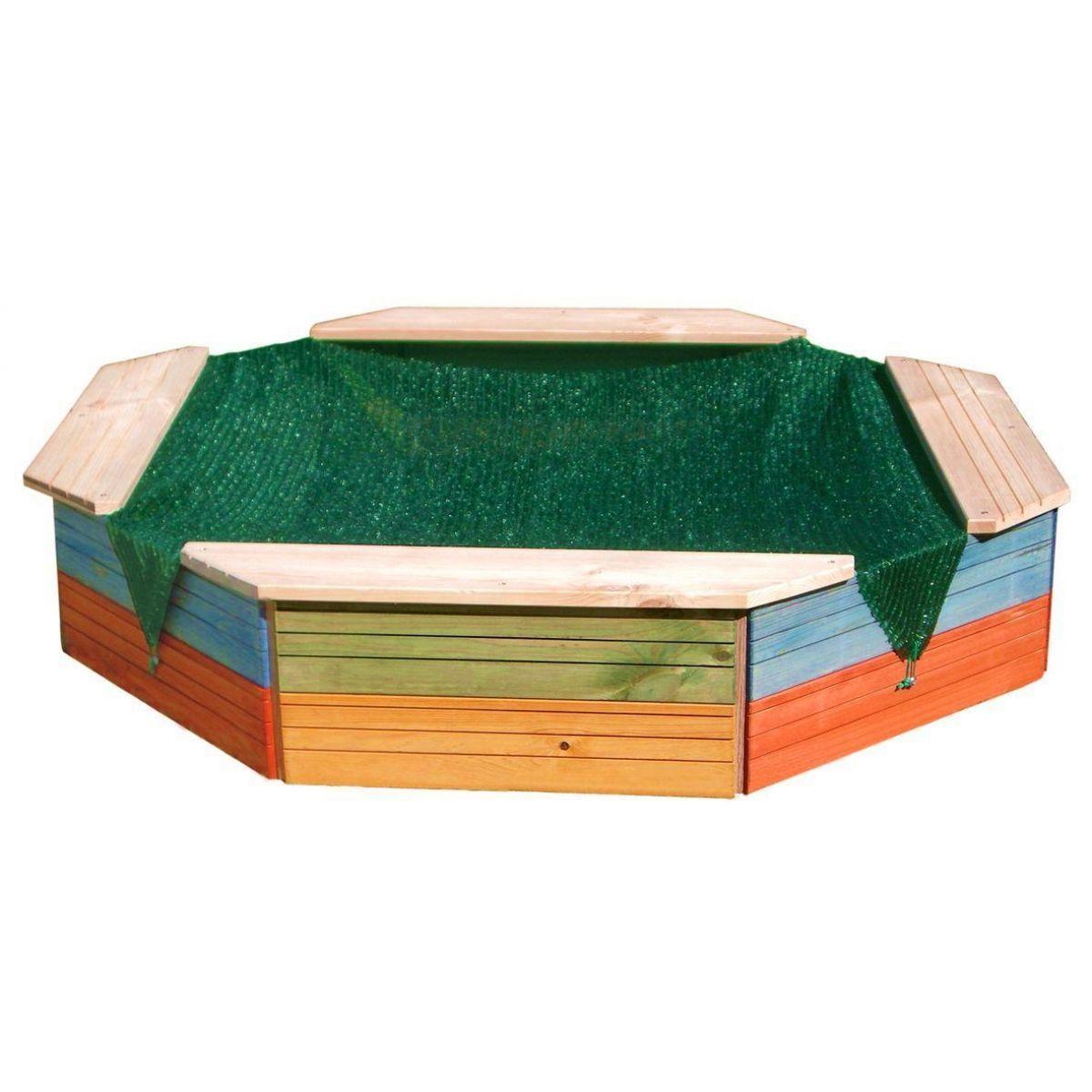 Woody Pískoviště dřevěné barevné s ochrannou sítí