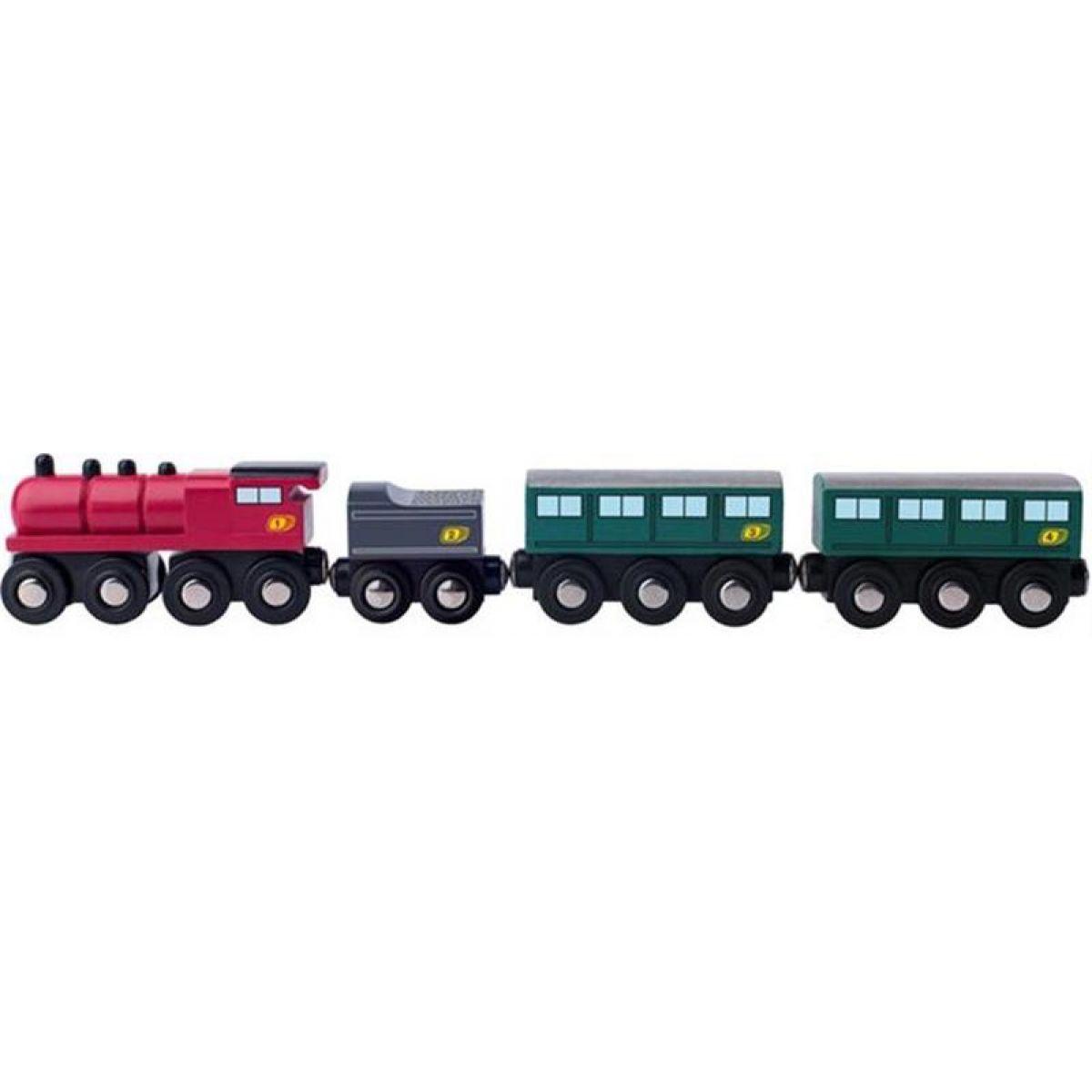 Woody Príslušenstvo k vláčkodráhe Parná lokomotíva s uhlím a osobnými vozňami