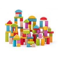 Woody Stavebnica kocky prírodné a farebné 100 ks