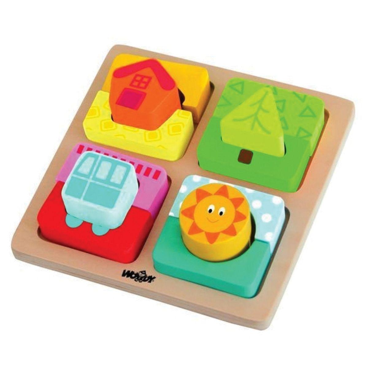 Woody Doštička s puzzle-tvarmi Slnko domova