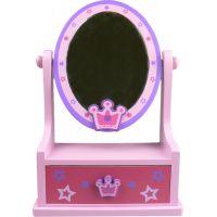 Zrkadlo drevené, ovál so zásuvkou - Korunka hviezdy